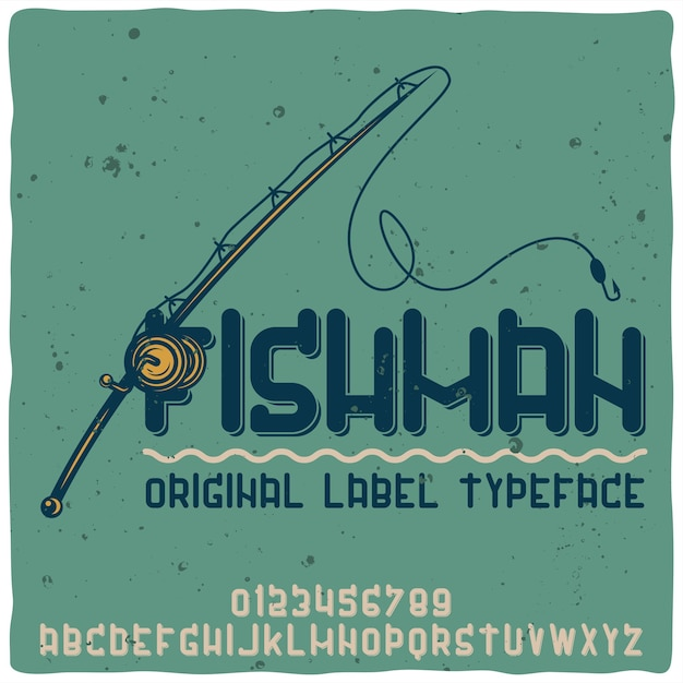 Vintage alphabet typeface named fishman. Free Vector