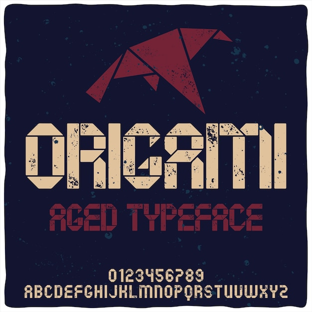 Vintage alphabet typeface named origami. Free Vector