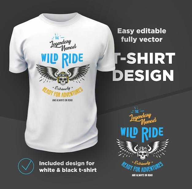 Винтажный американский клуб байкеров печати вектор, изолированные на белой футболке. Premium векторы