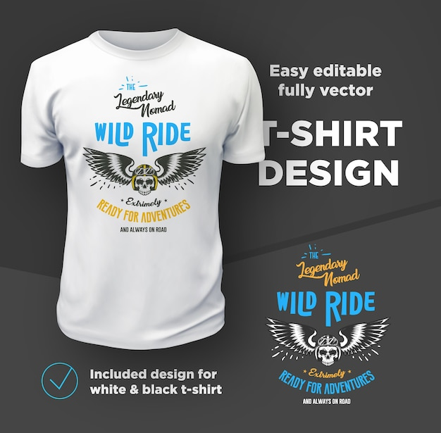Vintage american bikers club print vector  isolated on white t-shirt . Premium Vector