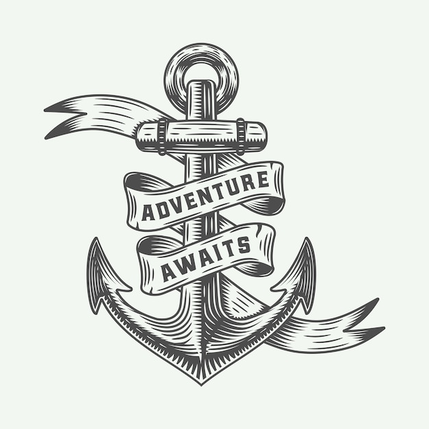 Vintage anchor with adventures typography. Premium Vector