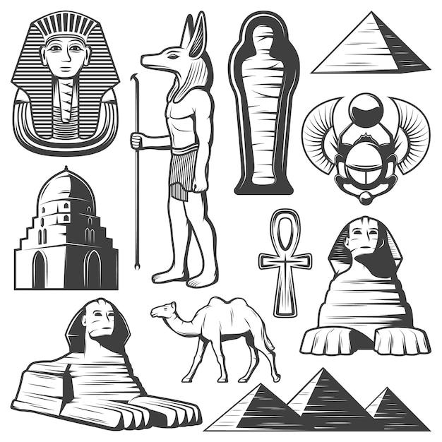 Vintage ancient egypt elements set Free Vector