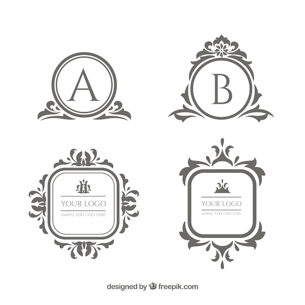 Vintage and luxury logo template collection Free Vector