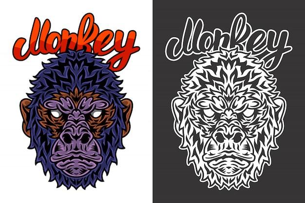 Vintage animal face monkey illustration Premium Vector
