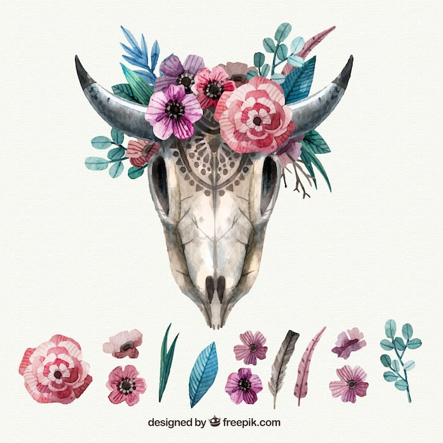 Vintage animal skull with floral decoration Free Vector