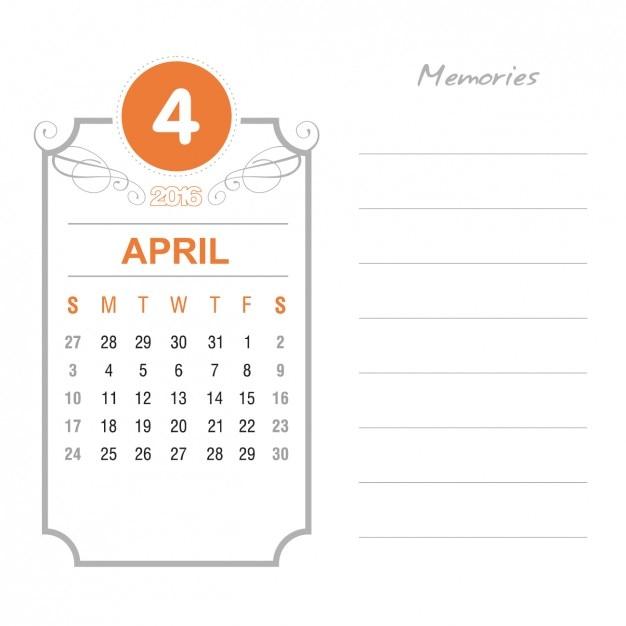 Vintage April Calendar 2016