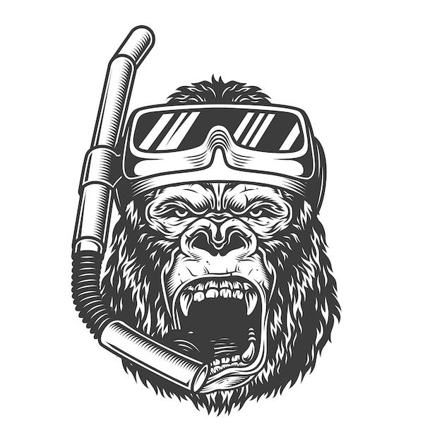 Vintage arrogant gorilla diver with scuba mask and snorkel in monochrome style   illustration Free Vector