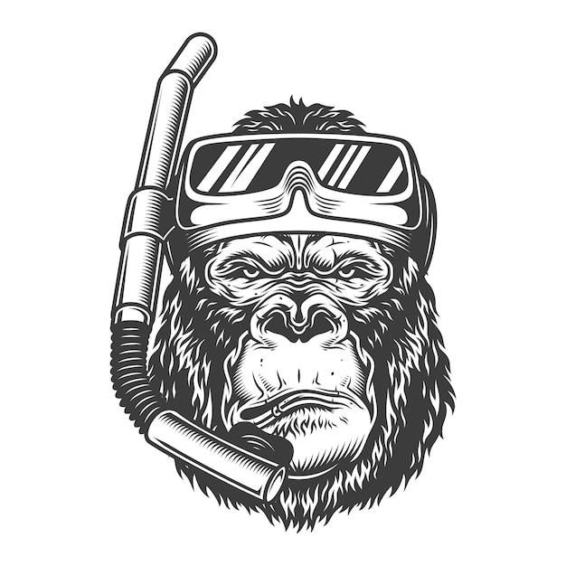 Operatore subacqueo di gorilla arrogante dell'annata Vettore gratuito