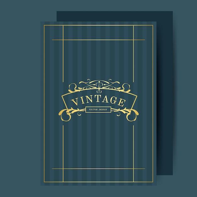 Vintage Art Nouveau Wedding Invitation Card Mockup Vector