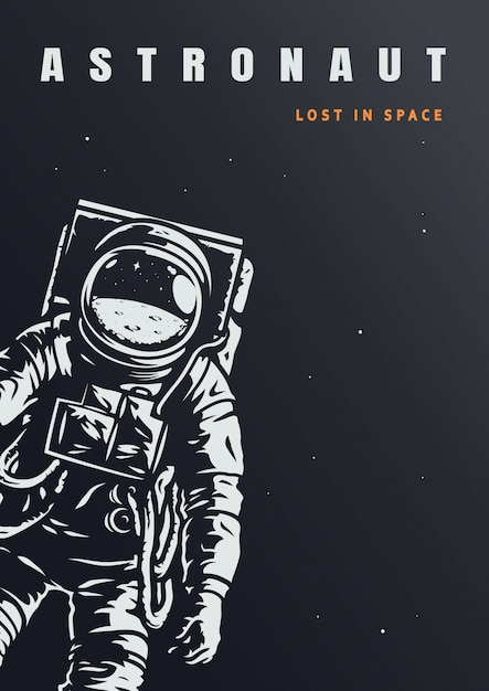 Vintage astronaut poster template Free Vector