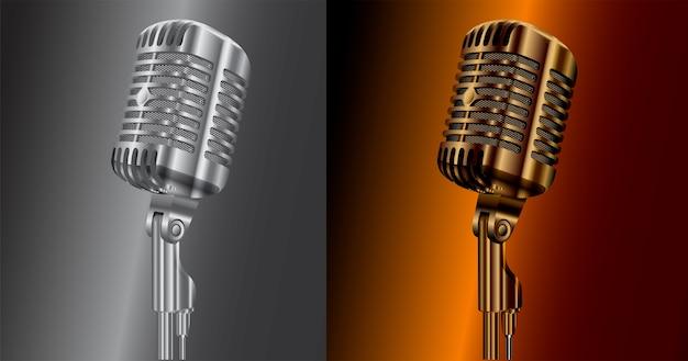 Vintage audio microphone. retro studio mic sound Premium Vector