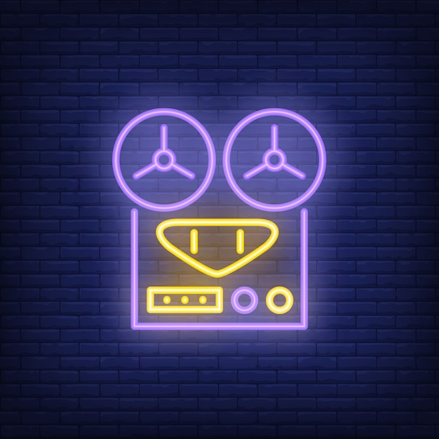 Vintage audio recorder neon sign Vector | Free Download