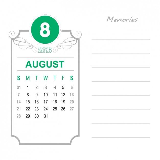 Vintage August Calendar 2016