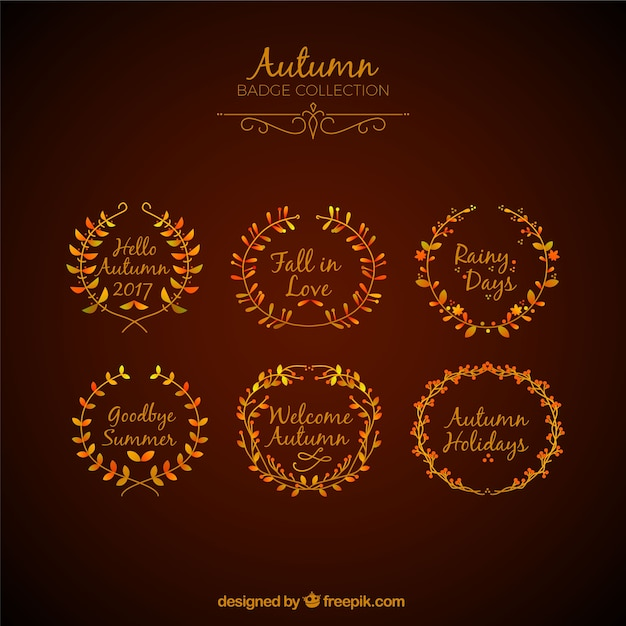 Vintage autumn badge collection with elegant style