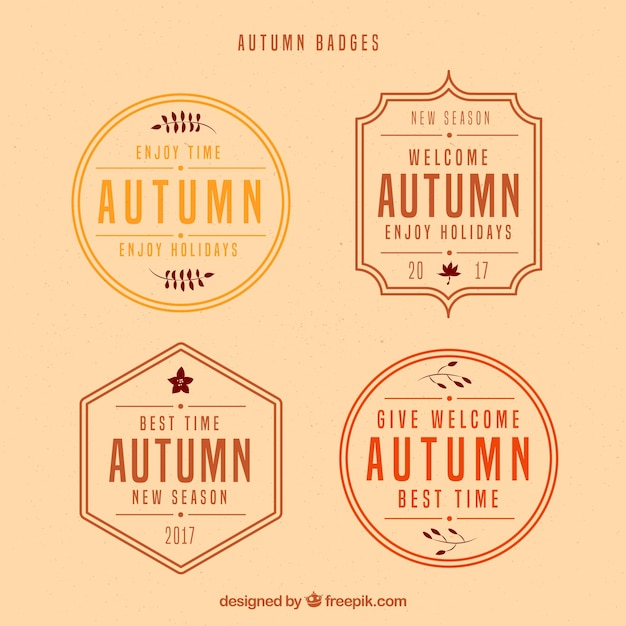 Vintage autumn badges with retro style