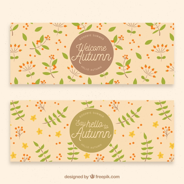 Vintage autumn banners with small leaves and\ flowers