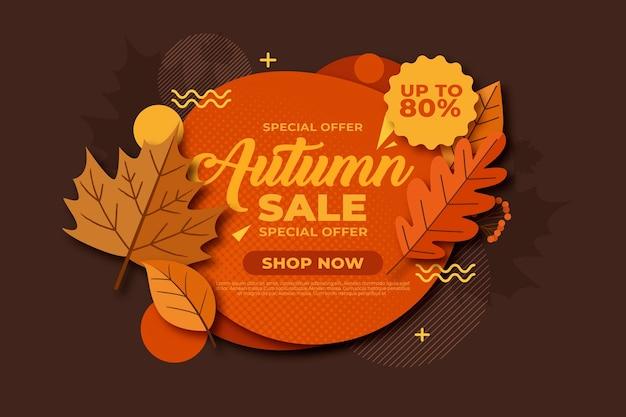 Vintage autumn sale concept Free Vector