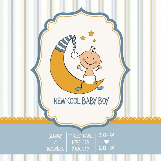 Vintage Baby Boy Shower Card Free Vector