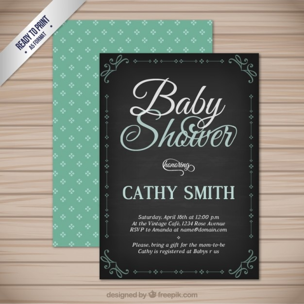 Vintage baby shower card Free Vector