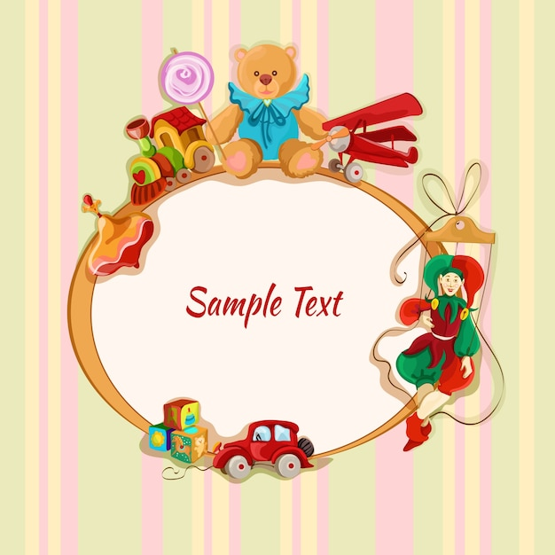 Vintage baby toys sketch frame postcard with peg top train lollypop teddy bear vector illustration Free Vector