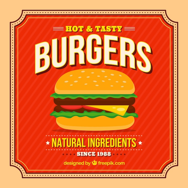 Vintage background of appetizing burger Free Vector