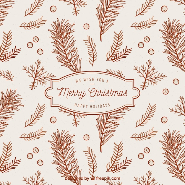Christmas Branch Vector.Vintage Background Of Christmas Branches Vector Free Download