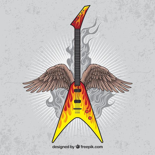 Vintage sfondo della chitarra elettrica con le ali Vettore gratuito
