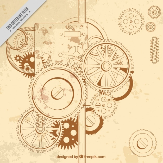 Vintage background of a gear assembly Free Vector