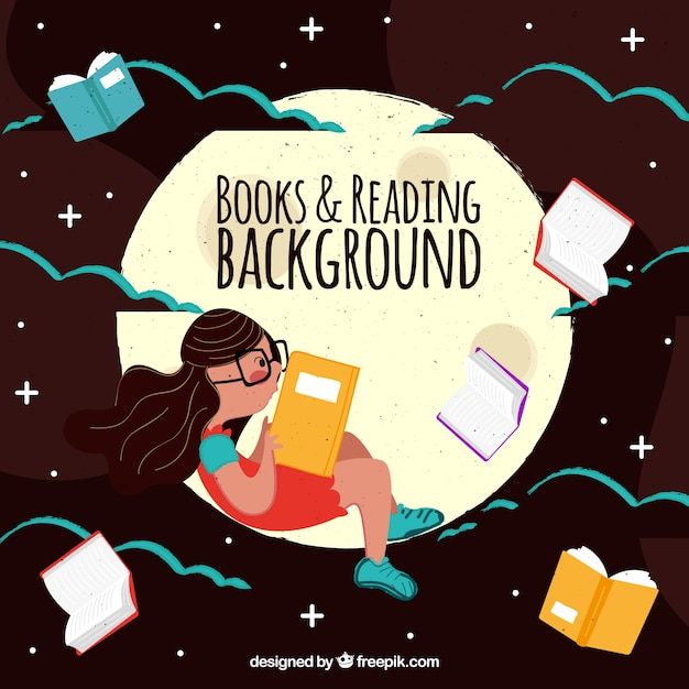 Vintage background of girl reading on the moon Free Vector