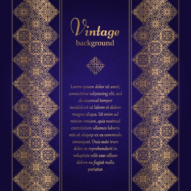 Vintage background, mosaic luxury ornament, ornate cover page, ornamental pattern template for design Premium Vector