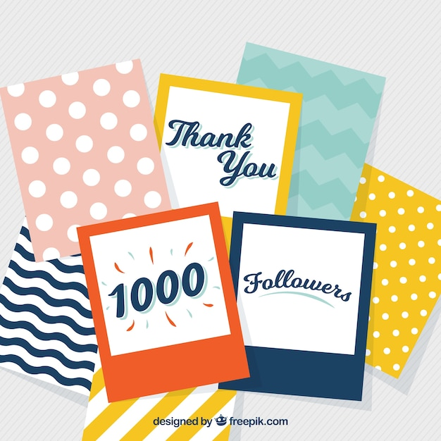 Vintage background of colorful cards of 1k followers