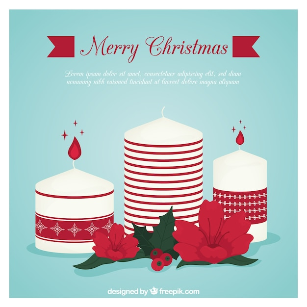 Vintage background of cute christmas candles