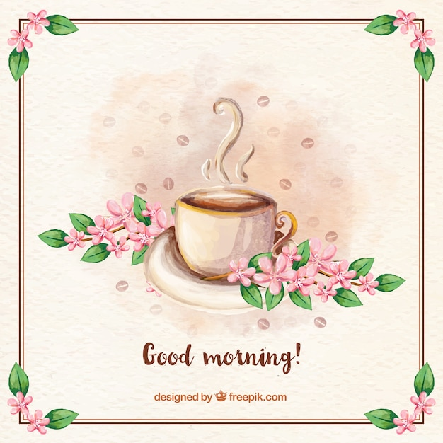 Good Morning Vintage Photos : Vintage background of good morning with coffee and flowers