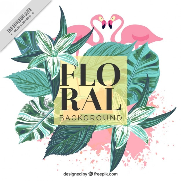 Vintage background of hand-painted palm leaves and flamingos Free Vector