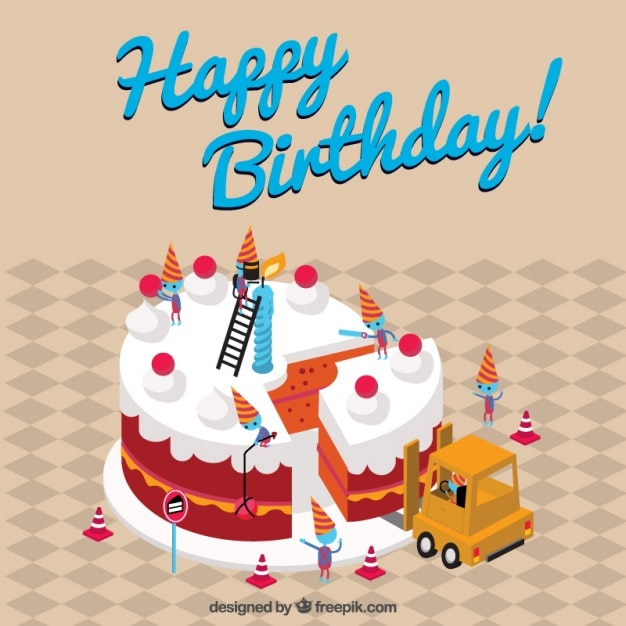 Vintage background of happy birthday cake Vector Free Download