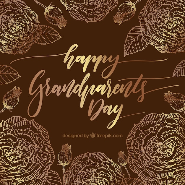 Vintage background of happy grandparents day with golden flowers
