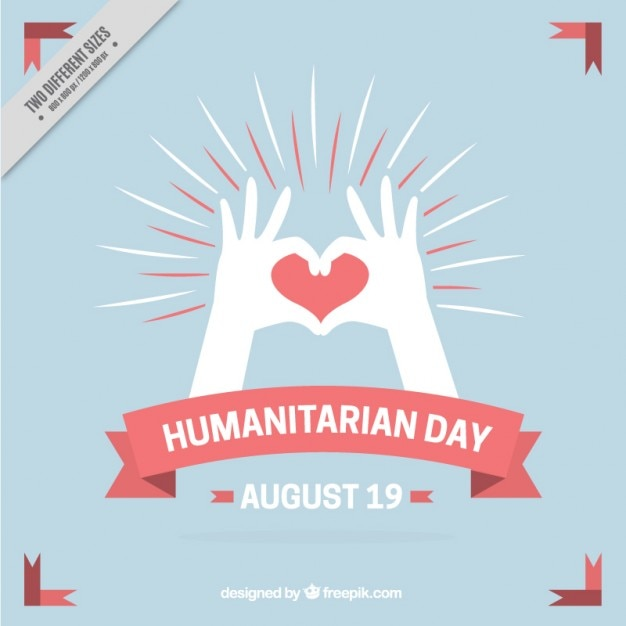 vintage background of humanitarian day with hands and