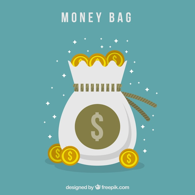 Vintage background of money bag with coins in\ flat design
