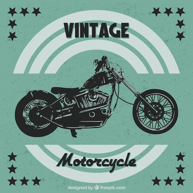 Vintage background of motorcycle with\ stars