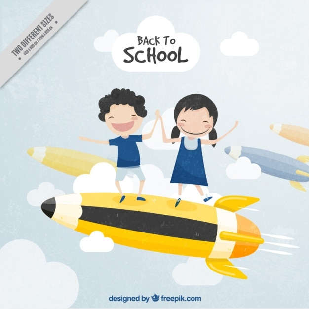 Vintage background of students having fun on a pencil Free Vector