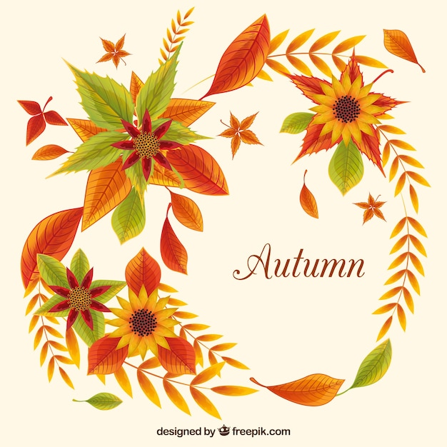 Vintage background of sunflowers and autumn\ leaves