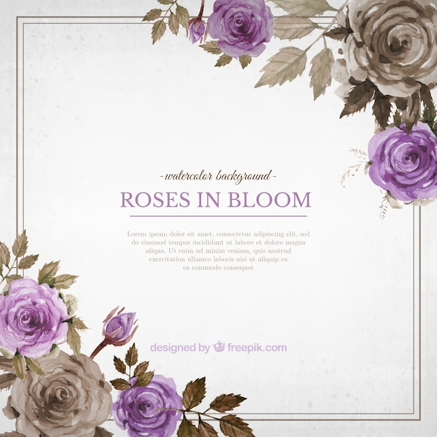 Vintage background of watercolor roses Free Vector