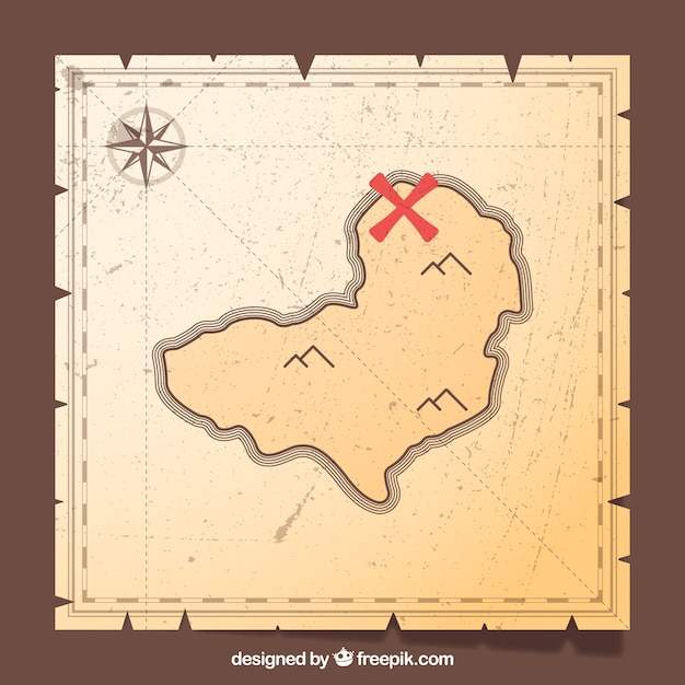 Vintage background of pirate treasure map Free Vector
