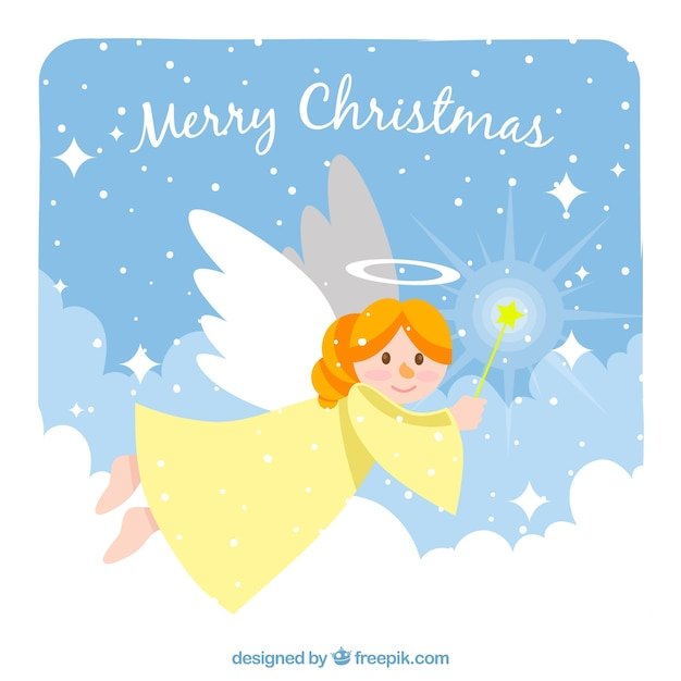 vintage background with a christmas angel free vector - A Christmas Angel