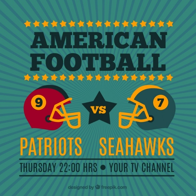 Vintage background with american football\ helmets
