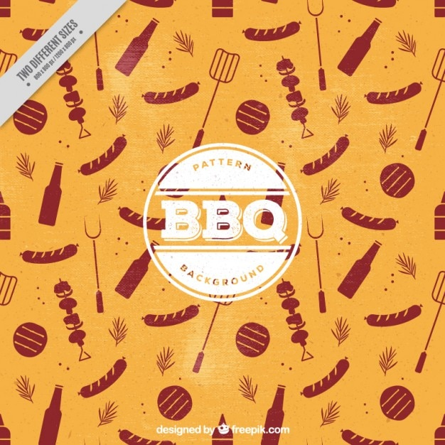 Vintage background with barbecue elements Free Vector