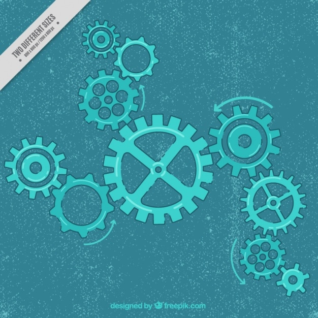 Vintage background with blue gears Free Vector