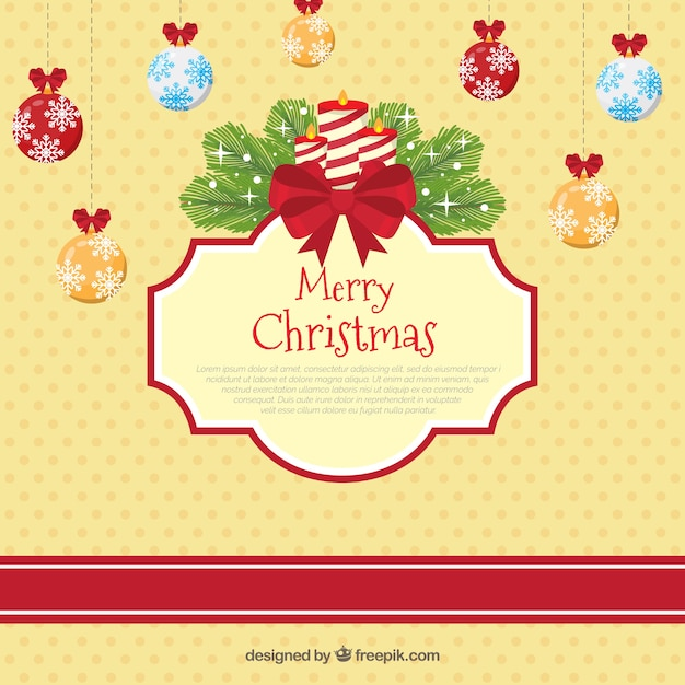 Vintage background with christmas balls and\ candles