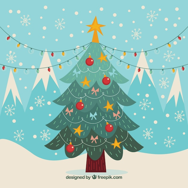 vintage background with christmas tree and decorative elements 23 2147703123