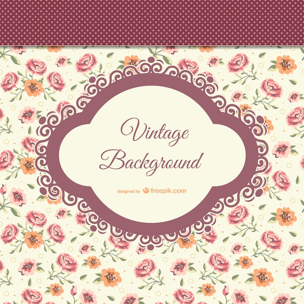 Vintage background with flowers Free Vector